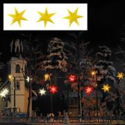 H0 Drei gelb leuchtende Weihnachtssterne