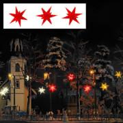 H0 Drei rot leuchtende Weihnachtssterne
