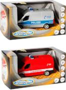 Speed Zone Polizei und Feuerwehr-Van, Licht & Sound, Rückzug, 1:43, ab 3 Jahren