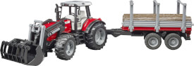 Bruder 02046 Massey Ferguson 7480 mit Frontlader und Holztransportanhänger und 3 Baumstämmen