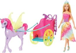 Mattel GJK53 Barbie Dreamtopia Prinzessin Puppe, Pegasus und Kutsche