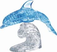 HCM Kinzel - 3D Crystal Puzzle - Delfin blau, 100 Teile, ab 14 Jahre