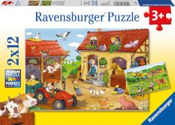 Ravensburger 07560 Puzzle Fleißig auf dem Bauernhof 2 x 12 Teile