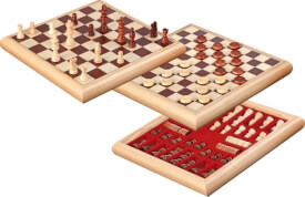 Philos Schach-Dame-Set Holzbox 32 x 32 cm