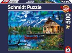 Schmidt Spiele Puzzle Bergsee im Mondlicht, 500 Teile